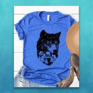 Wolf Tee Wolves Blue T-shirt Retro Tee NEW NWT
